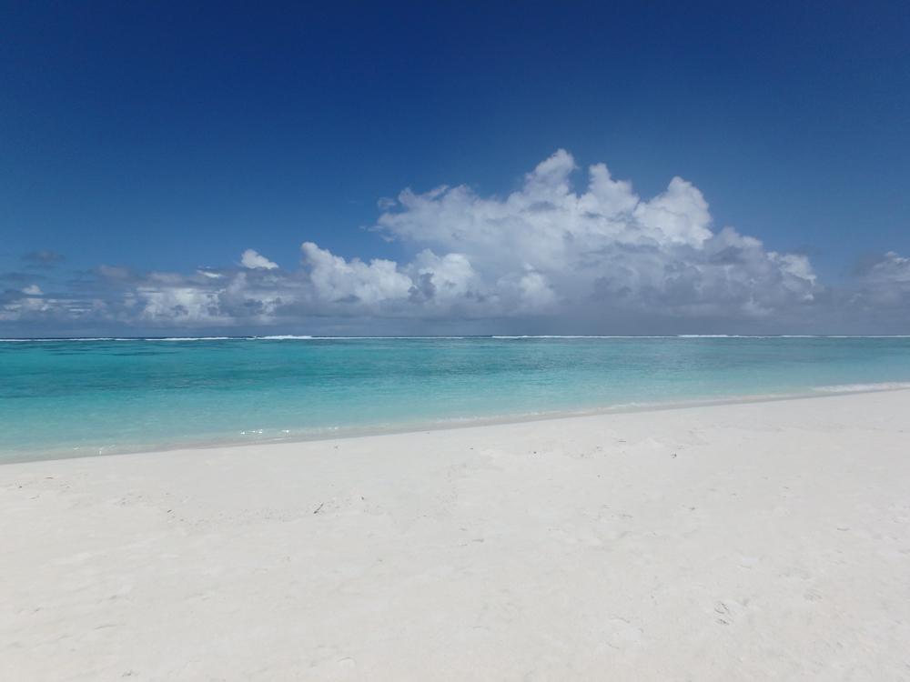 砂浜は、まっしろ!まぶしくて、晴れた日は目がチカチカ してしまうほどでした。サングラス必須!